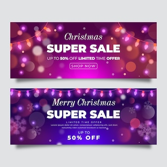 Banners borrados de vendas de natal