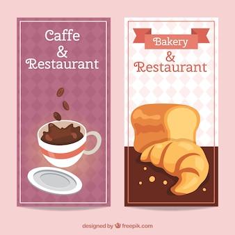 Banners cafetaria no estilo do vintage