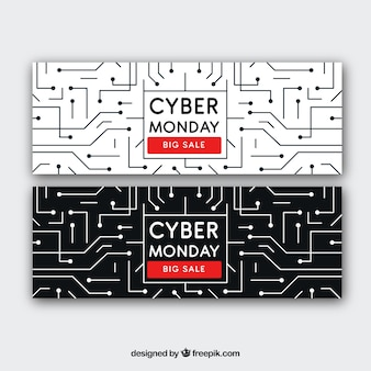 Banners cibernéticos de circuitos