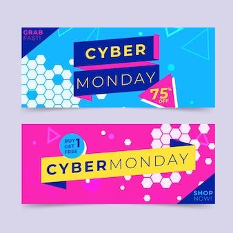 Banners cibernéticos de segunda-feira em design plano
