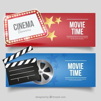 Banners cinema fantástico com itens decorativos