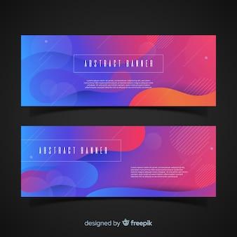 Banners coloridos com design abstrato