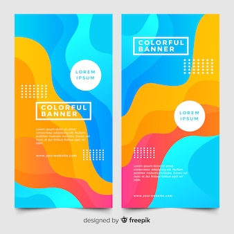Banners coloridos com formas abstratas