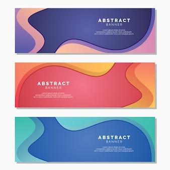 Banners coloridos com modelo abstrato
