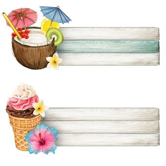 Banners coloridos de bebidas e sorvetes