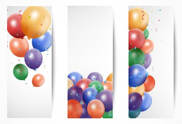 Banners coloridos de celebração com balões
