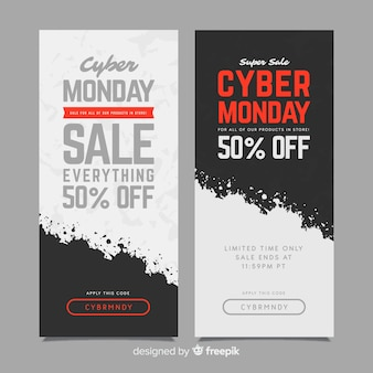 Banners coloridos de cyber segunda-feira com design liso