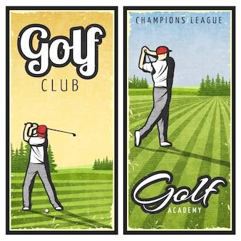 Banners coloridos de golfe vintage