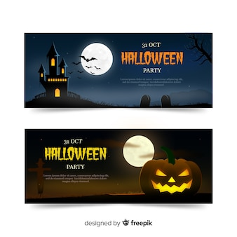 Banners coloridos de halloween com design realista