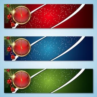 Banners coloridos de natal e ano novo