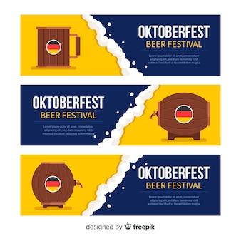 Banners coloridos de oktoberfest com design plano
