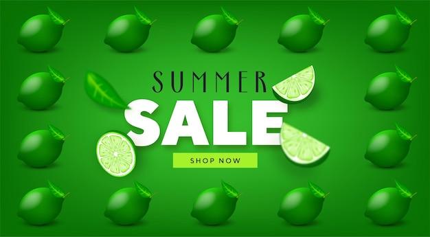 Banners coloridos de promoção de verão com lima e limão frutas tropicais