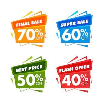 Banners coloridos de venda