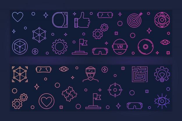 Banners coloridos de vr conjunto com ícones de realidade virtual