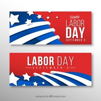 Banners coloridos dia do trabalho com design plano
