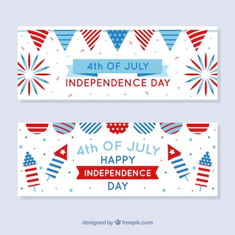 Banners coloridos do dia da independência americana