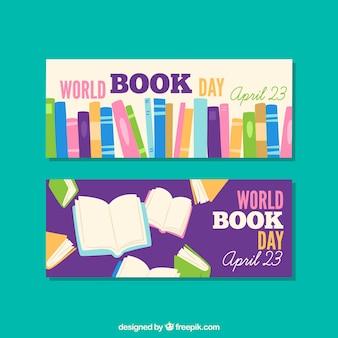 Banners coloridos feliz dia do livro mundial