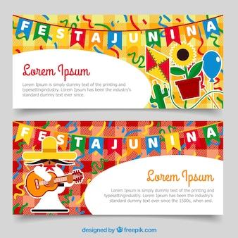 Banners coloridos festa junina