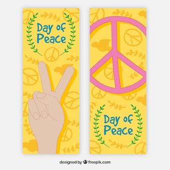 Banners coloridos para o dia da paz