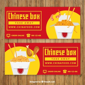 Banners coloridos para restaurante chinês