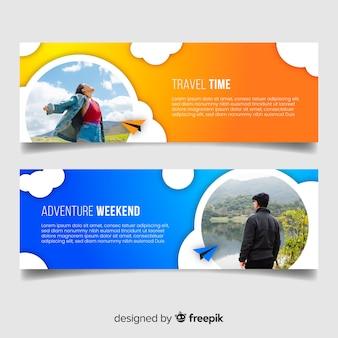 Banners coloridos para viajar aventura
