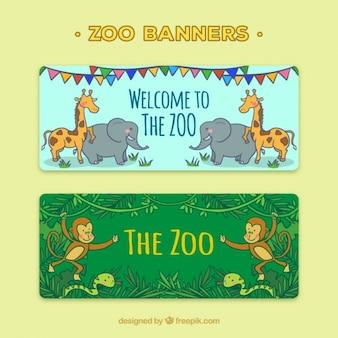 Banners com a mão tirada animais selvagens