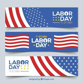 Banners com bandeira americana para o dia do trabalho