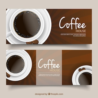 Banners com copos de café