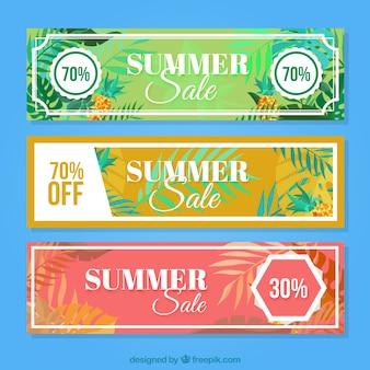 Banners com desconto de verão abstratas com folhas de palmeira