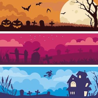 Banners com design plano de halloween