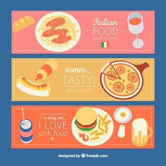 Banners com diferentes pratos