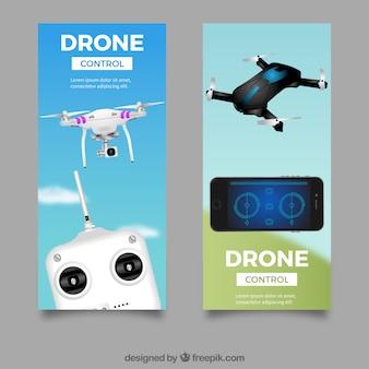 Banners com drones controlados remotamente