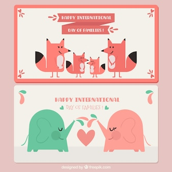 Banners com elefantes e raposas para dia internacional das famílias