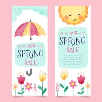 Banners com elementos coloridos da primavera