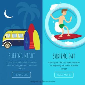 Banners com elementos de surf