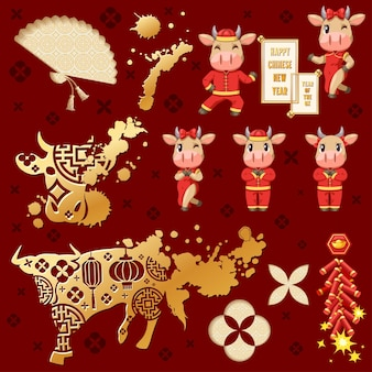 Banners com elementos do ano novo chinês de 2021