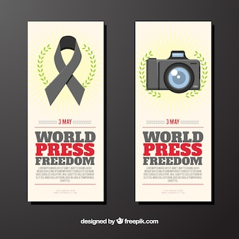 Banners com fita e foto da câmera do dia da liberdade de imprensa mundial