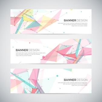 Banners com formas abstratas poligonais