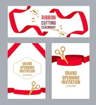 Banners com fotos com fitas vermelhas para cerimônia. tesoura de vetor corta a fita, ilustração de convite de cerimônia
