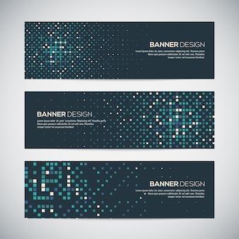 Banners com fundo geométrico aleatório colorido abstrato