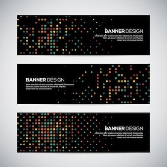 Banners com fundo geométrico triangular forrado colorido abstrato