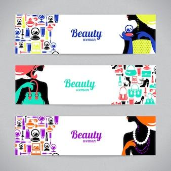 Banners com ícones da moda e silhueta de mulher comercial bonita elegante. cartões de design de modelo