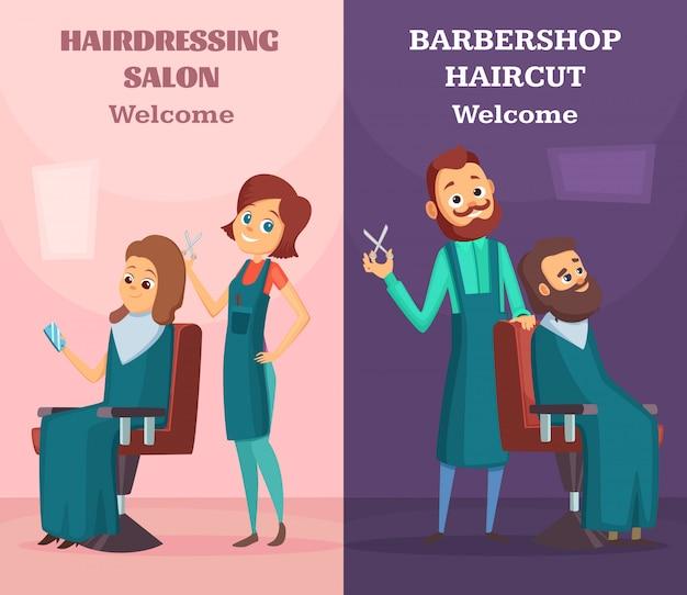 Banners com ilustrações de cabeleireiros no trabalho