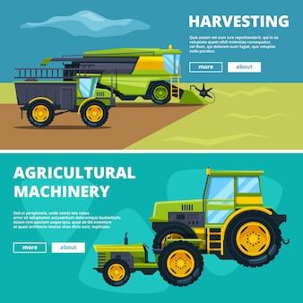 Banners com ilustrações de máquinas agrícolas. fazenda de agricultura de vetor, trator e maquinaria