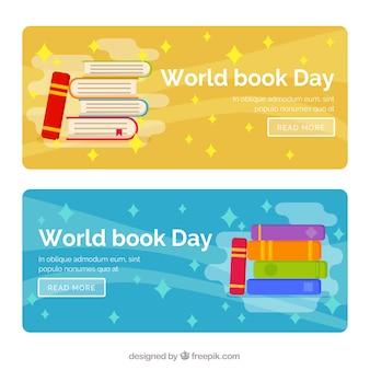 Banners com livros e estrelas
