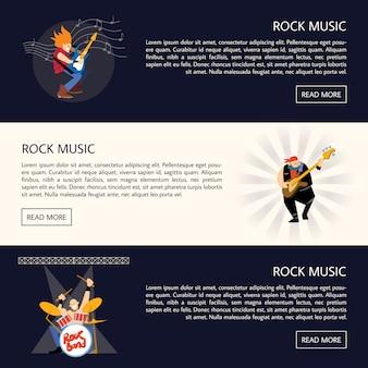 Banners com músicos de rock tocando instrumentos