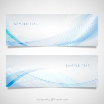 Banners com padrão de onda azul