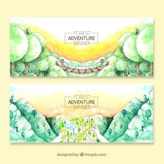 Banners com paisagens de aquarela