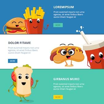 Banners com personagens de fast food bonito dos desenhos animados