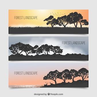 Banners com silhuetas paisagem